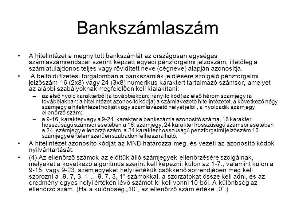 Bankszámlaszám