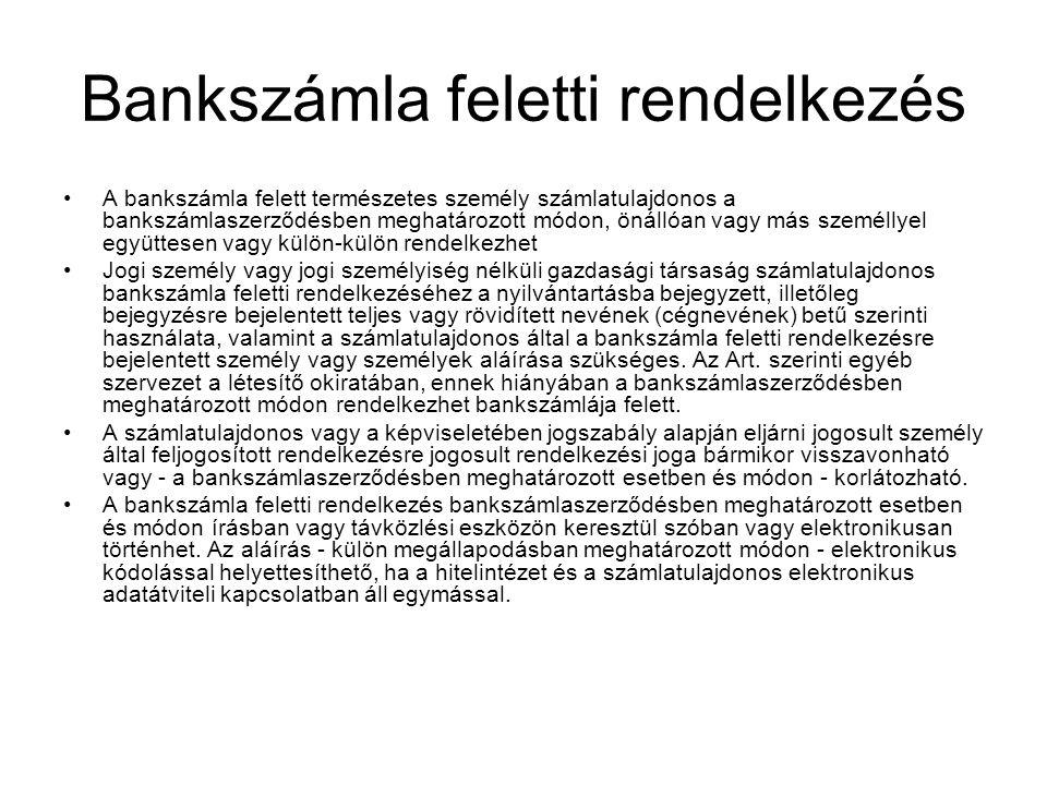 Bankszámla feletti rendelkezés
