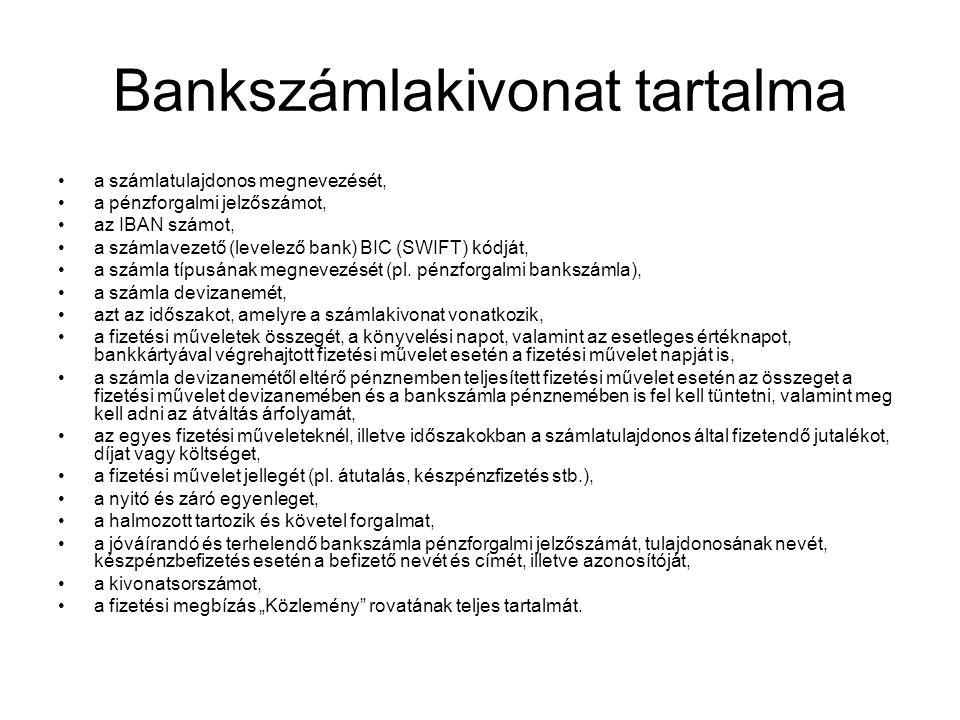 Bankszámlakivonat tartalma
