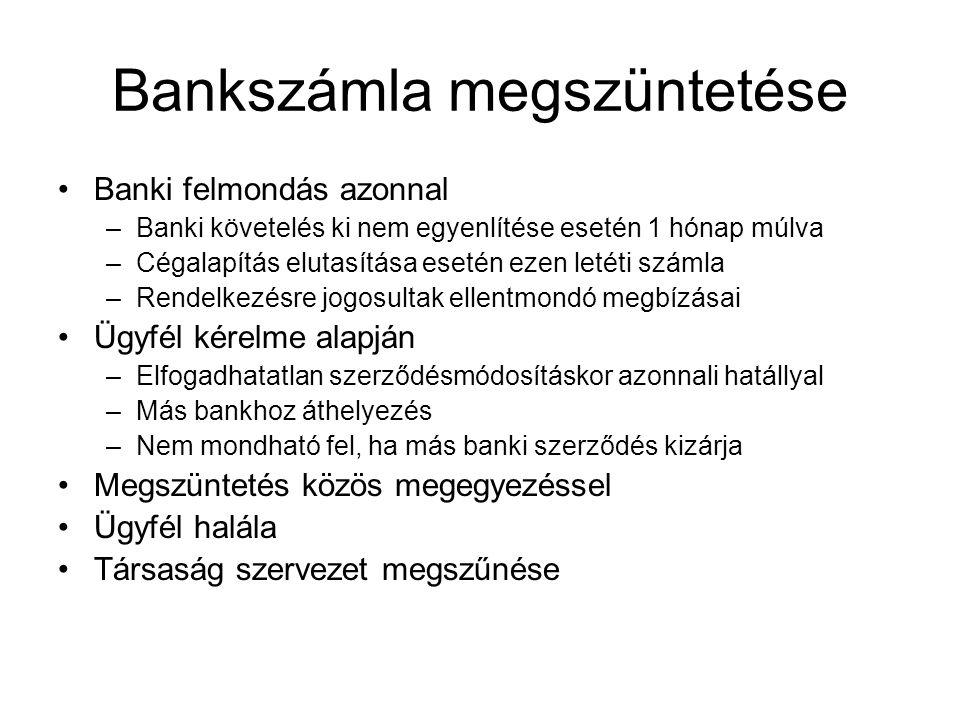 Bankszámla megszüntetése