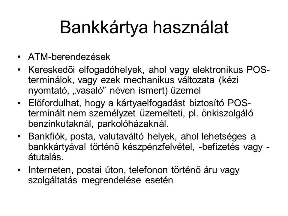Bankkártya használat ATM-berendezések