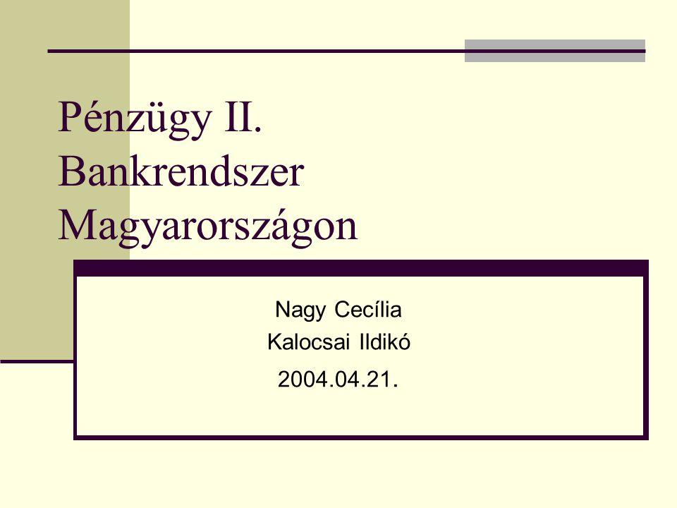 Pénzügy II. Bankrendszer Magyarországon