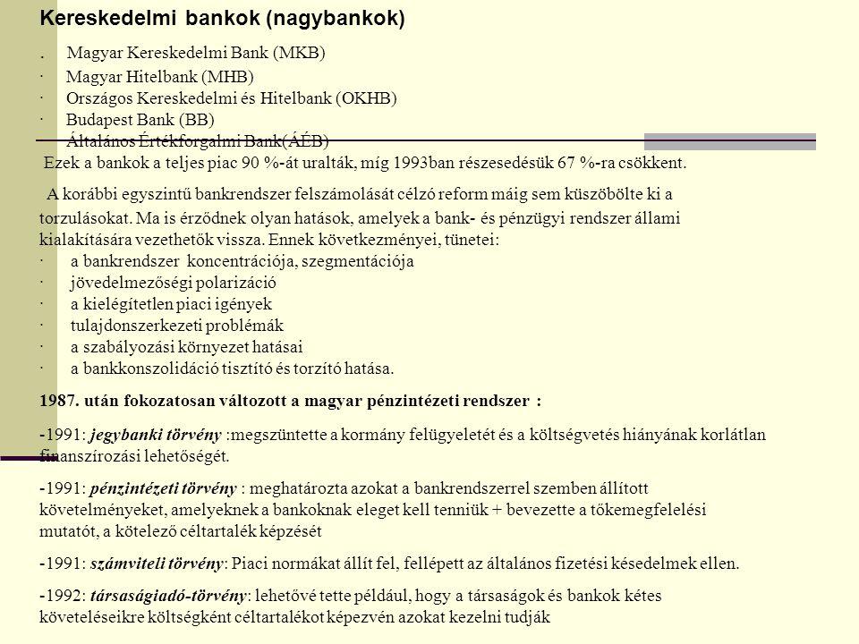 Kereskedelmi bankok (nagybankok)
