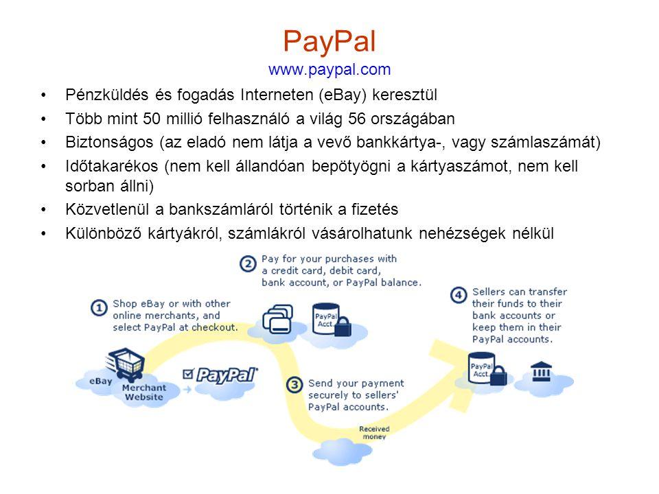 PayPal www.paypal.com Pénzküldés és fogadás Interneten (eBay) keresztül. Több mint 50 millió felhasználó a világ 56 országában.