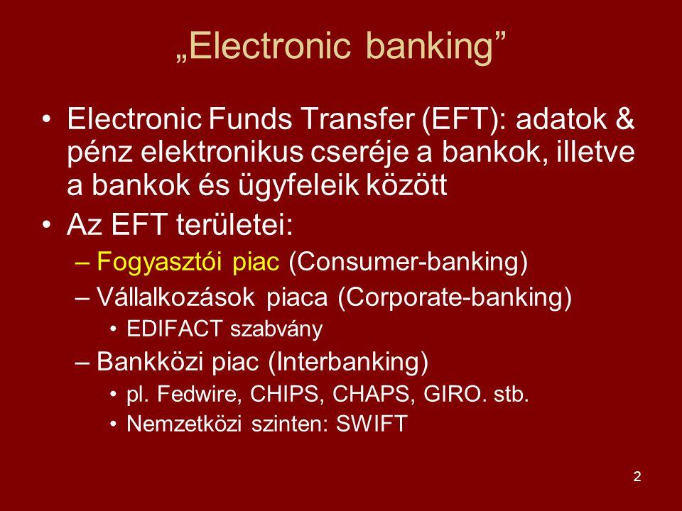 """""""Electronic banking Electronic Funds Transfer (EFT): adatok & pénz elektronikus cseréje a bankok, illetve a bankok és ügyfeleik között."""
