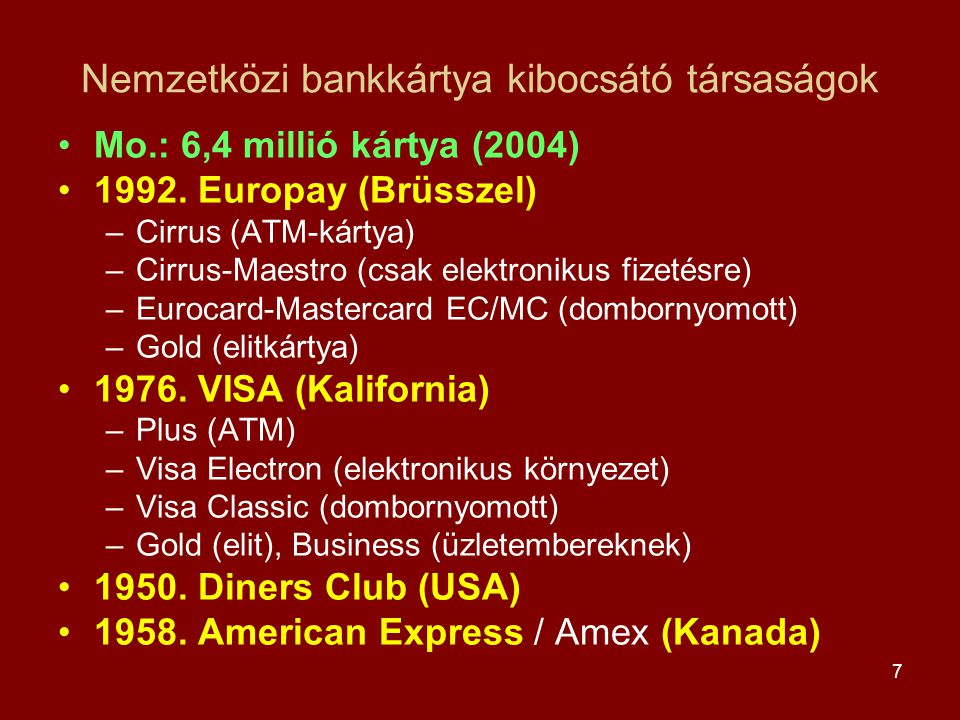 Nemzetközi bankkártya kibocsátó társaságok