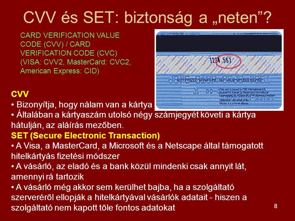"""CVV és SET: biztonság a """"neten"""