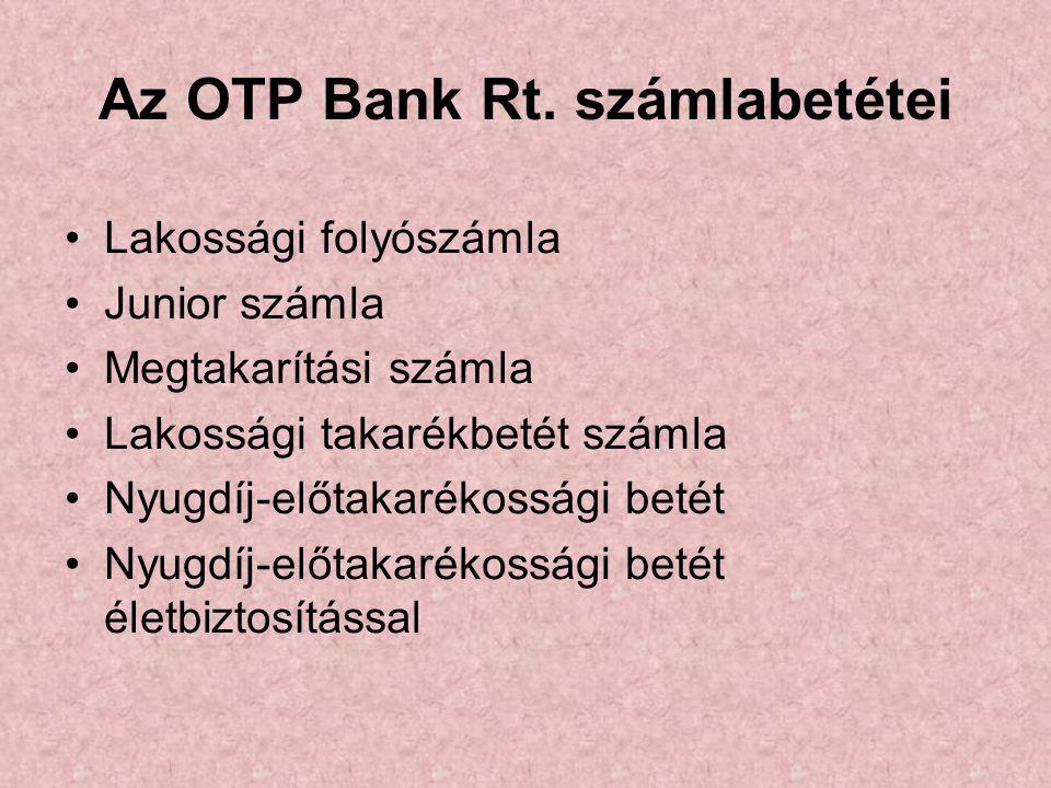 Az OTP Bank Rt. számlabetétei