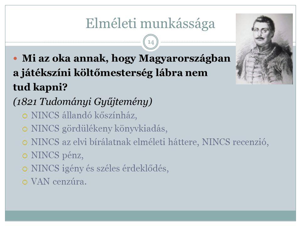 Elméleti munkássága Mi az oka annak, hogy Magyarországban