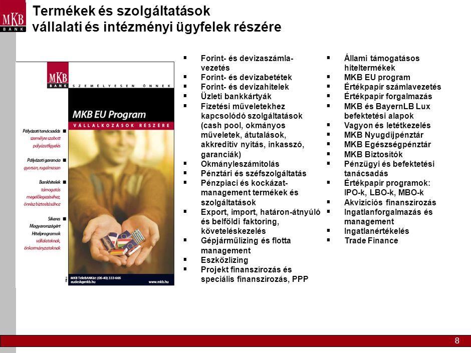 Termékek és szolgáltatások vállalati és intézményi ügyfelek részére