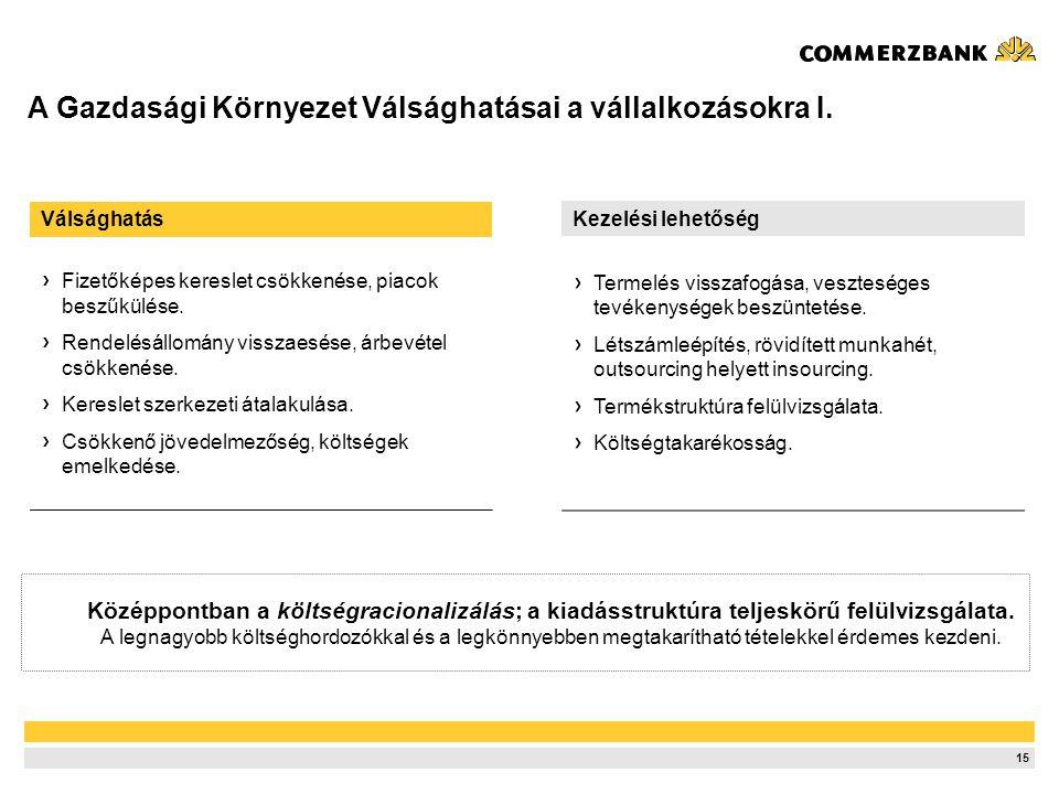 A Gazdasági Környezet Válsághatásai a vállalkozásokra II.