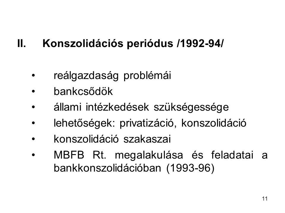 Konszolidációs periódus /1992-94/