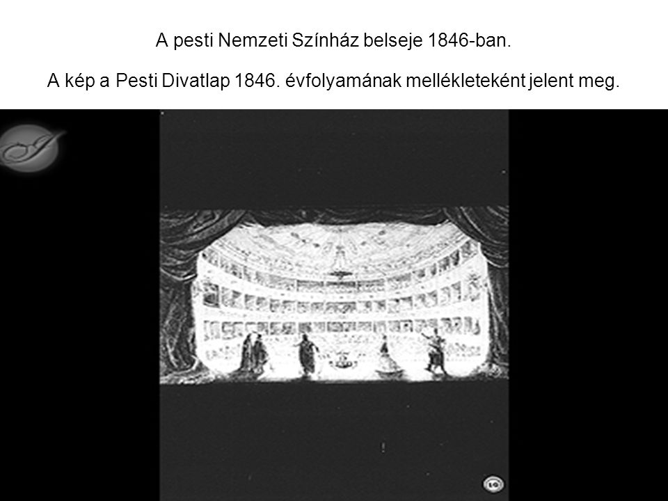 A pesti Nemzeti Színház belseje 1846-ban. A kép a Pesti Divatlap 1846