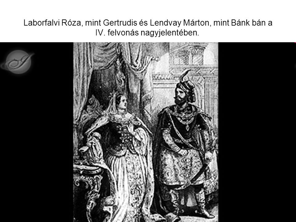 Laborfalvi Róza, mint Gertrudis és Lendvay Márton, mint Bánk bán a IV
