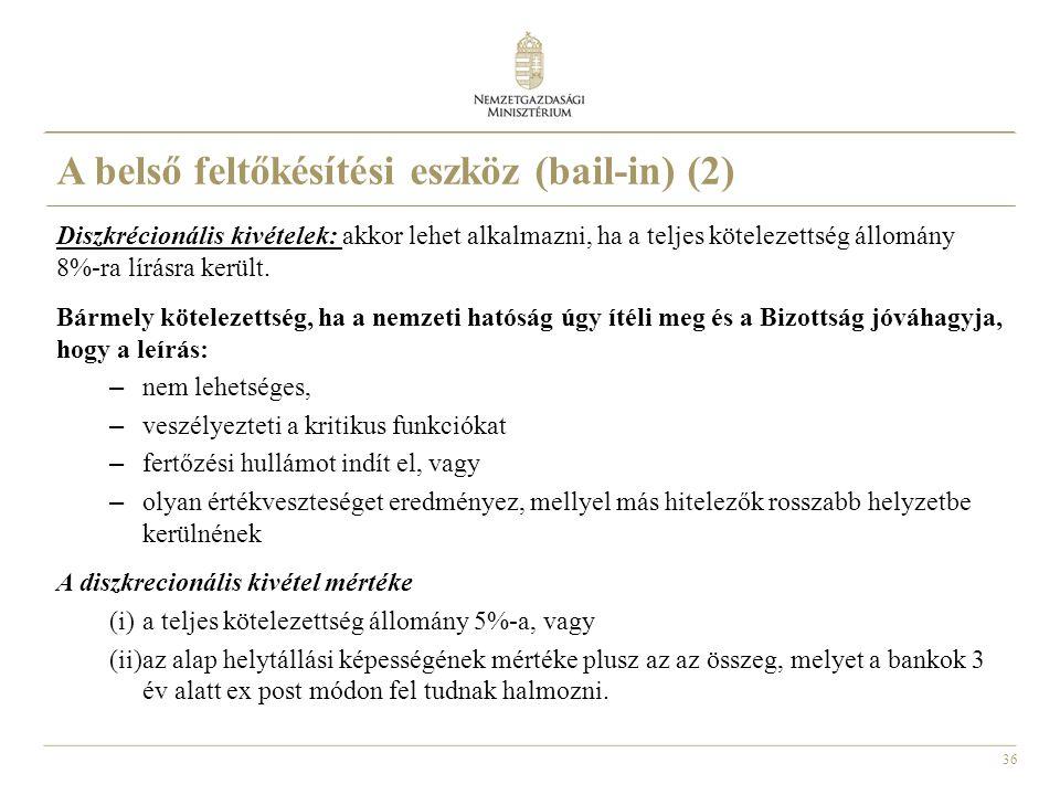 A belső feltőkésítési eszköz (bail-in) (2)
