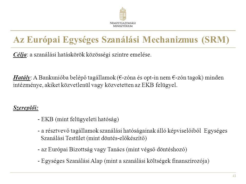 Az Európai Egységes Szanálási Mechanizmus (SRM)