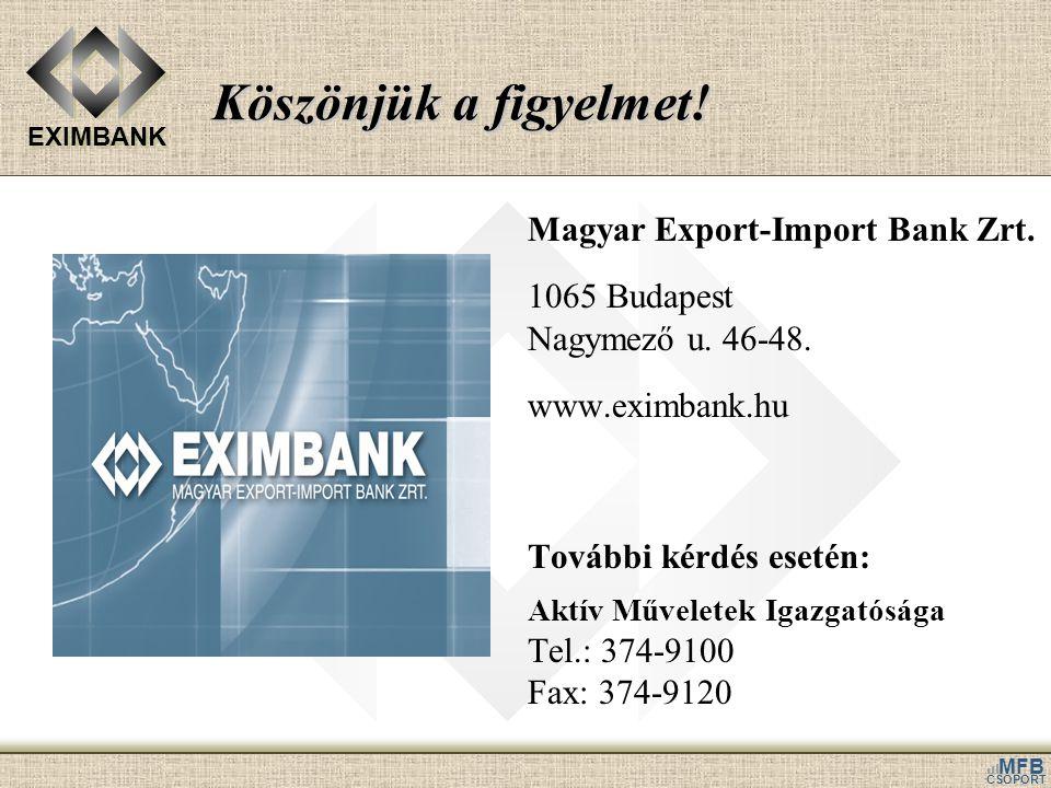 Köszönjük a figyelmet! Magyar Export-Import Bank Zrt. 1065 Budapest