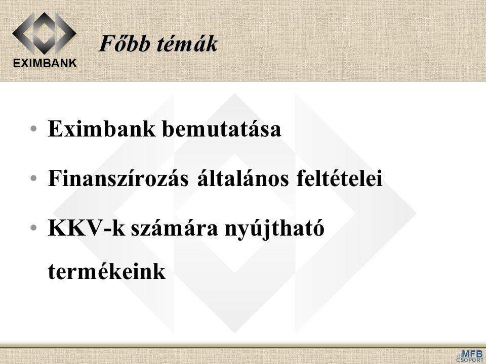 Főbb témák Eximbank bemutatása. Finanszírozás általános feltételei.