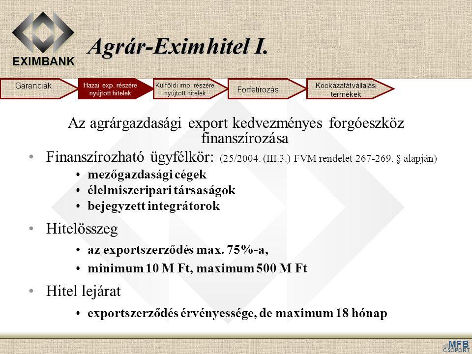 Agrár-Eximhitel I. Garanciák. Hazai exp. részére nyújtott hitelek. Külföldi imp. részére nyújtott hitelek.