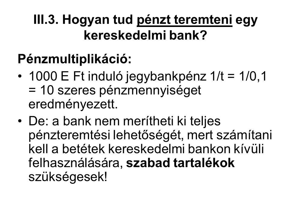 III.3. Hogyan tud pénzt teremteni egy kereskedelmi bank