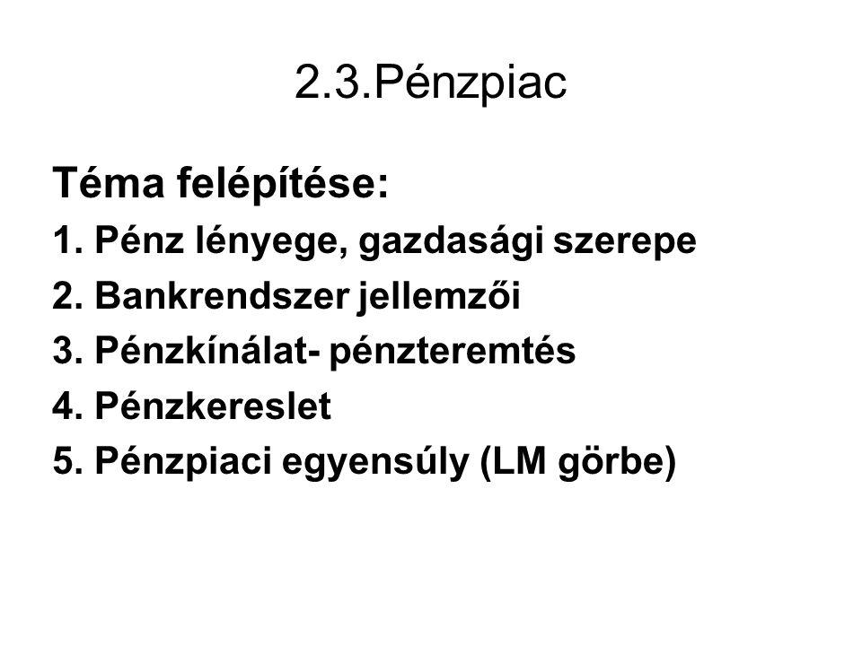 2.3.Pénzpiac Téma felépítése: 1. Pénz lényege, gazdasági szerepe