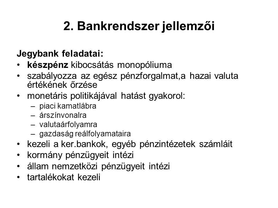 2. Bankrendszer jellemzői