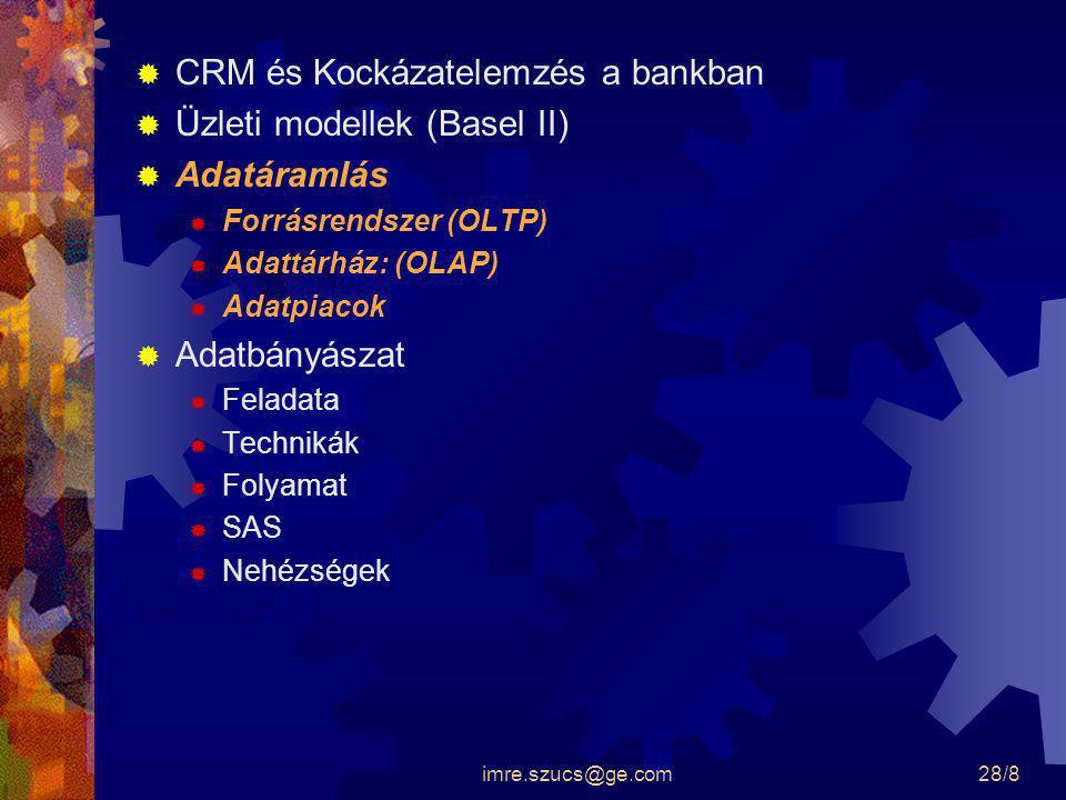 CRM és Kockázatelemzés a bankban Üzleti modellek (Basel II)