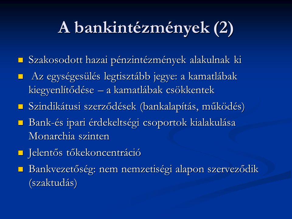 A bankintézmények (2) Szakosodott hazai pénzintézmények alakulnak ki