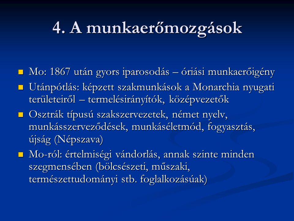 4. A munkaerőmozgások Mo: 1867 után gyors iparosodás – óriási munkaerőigény.