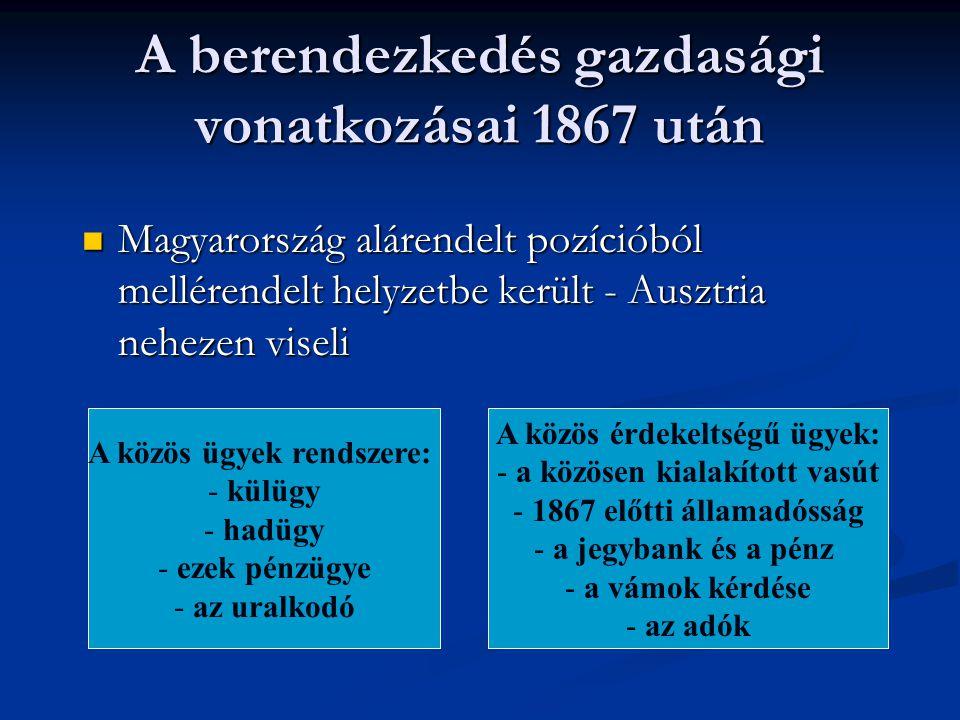 A berendezkedés gazdasági vonatkozásai 1867 után