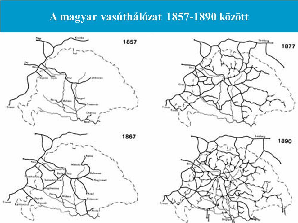 A magyar vasúthálózat 1857-1890 között