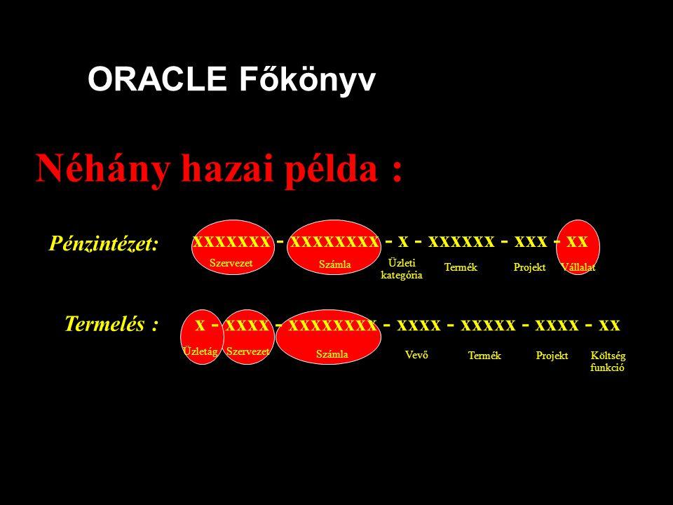 Néhány hazai példa : ORACLE Főkönyv