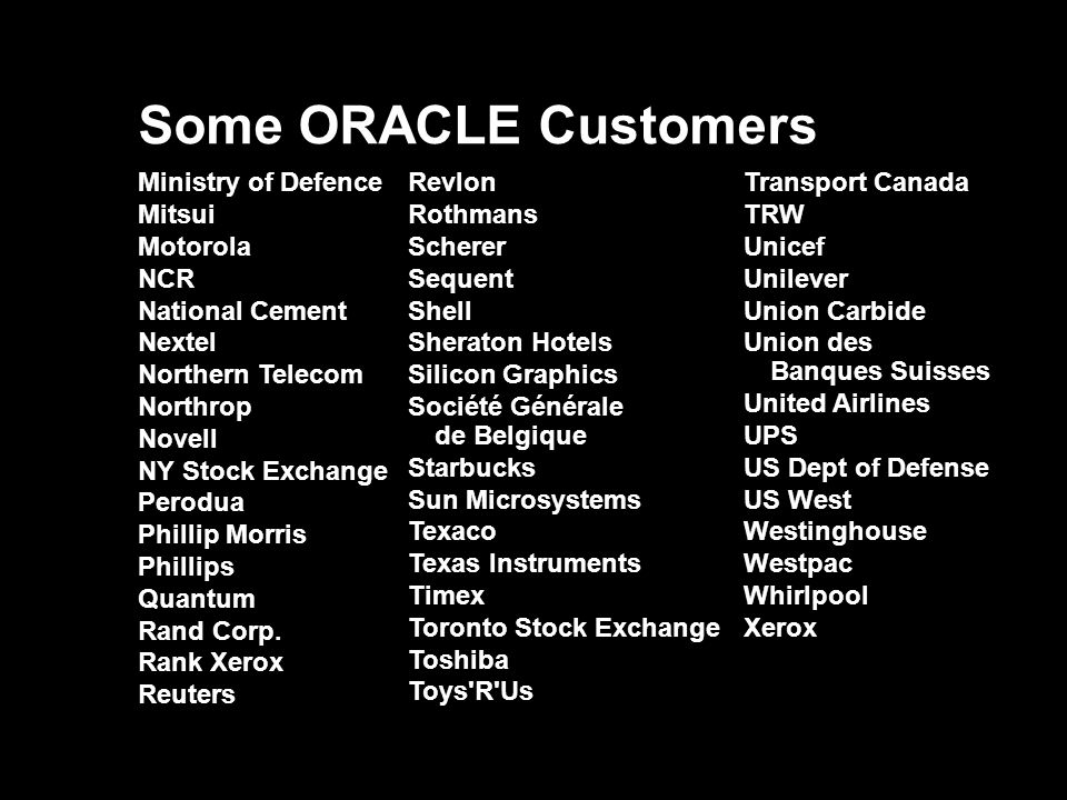 Some ORACLE Customers Ministry of Defence Mitsui Motorola NCR