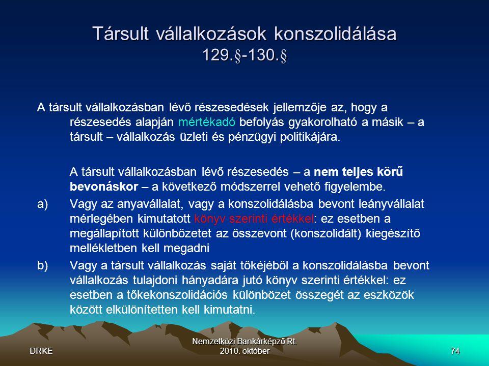 Társult vállalkozások konszolidálása 129.§-130.§
