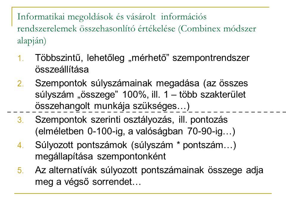 Informatikai megoldások és vásárolt információs rendszerelemek összehasonlító értékelése (Combinex módszer alapján)