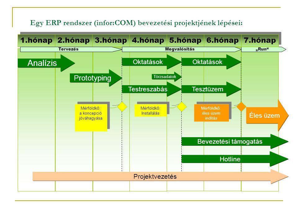 Egy ERP rendszer (infor:COM) bevezetési projektjének lépései: