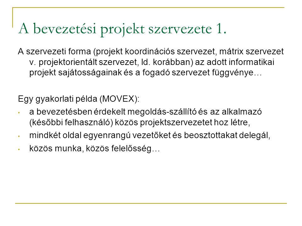 A bevezetési projekt szervezete 1.