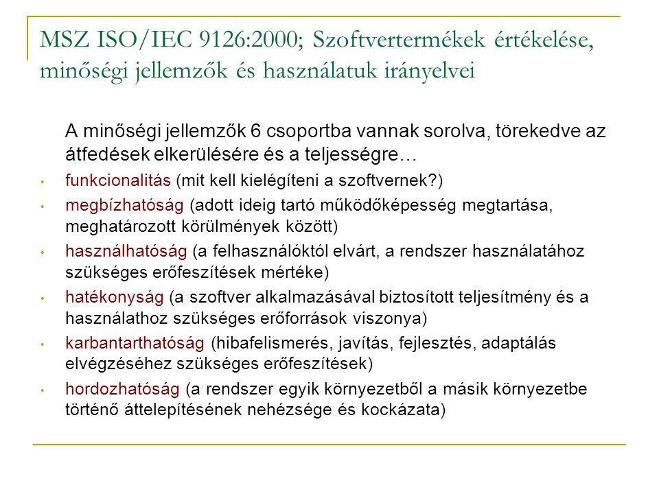 MSZ ISO/IEC 9126:2000; Szoftvertermékek értékelése, minőségi jellemzők és használatuk irányelvei