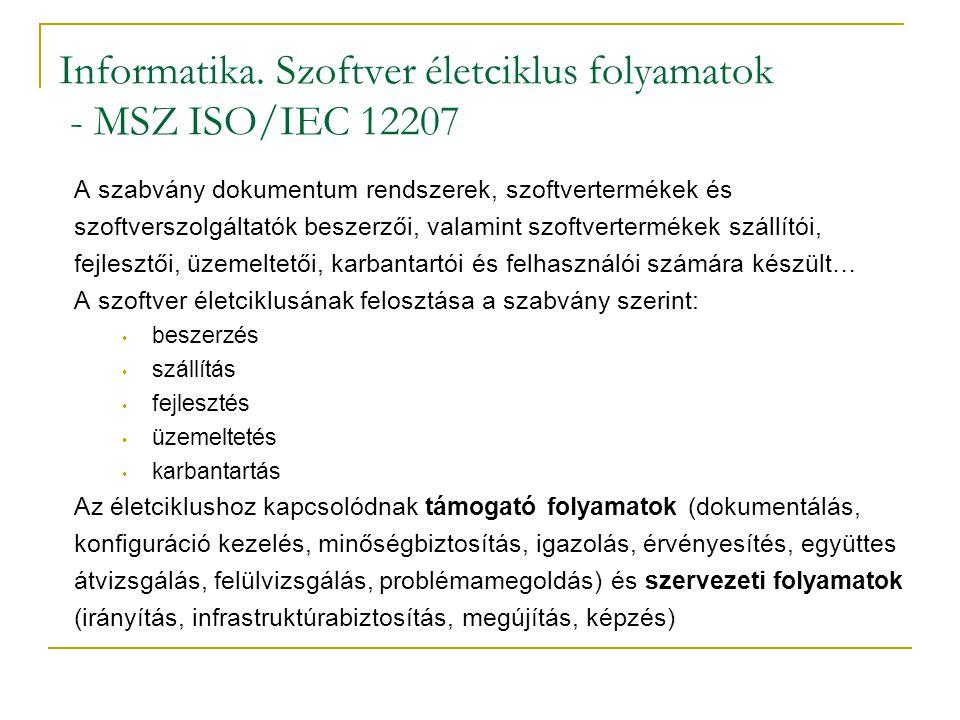 Informatika. Szoftver életciklus folyamatok - MSZ ISO/IEC 12207