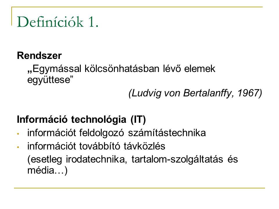 """Definíciók 1. Rendszer. """"Egymással kölcsönhatásban lévő elemek együttese (Ludvig von Bertalanffy, 1967)"""