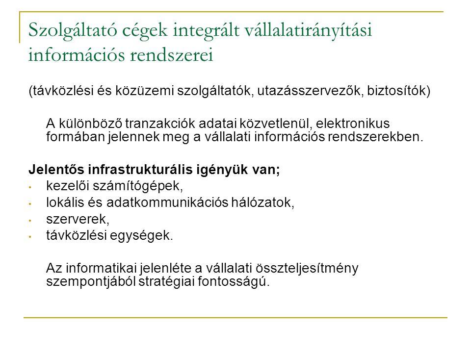 Szolgáltató cégek integrált vállalatirányítási információs rendszerei