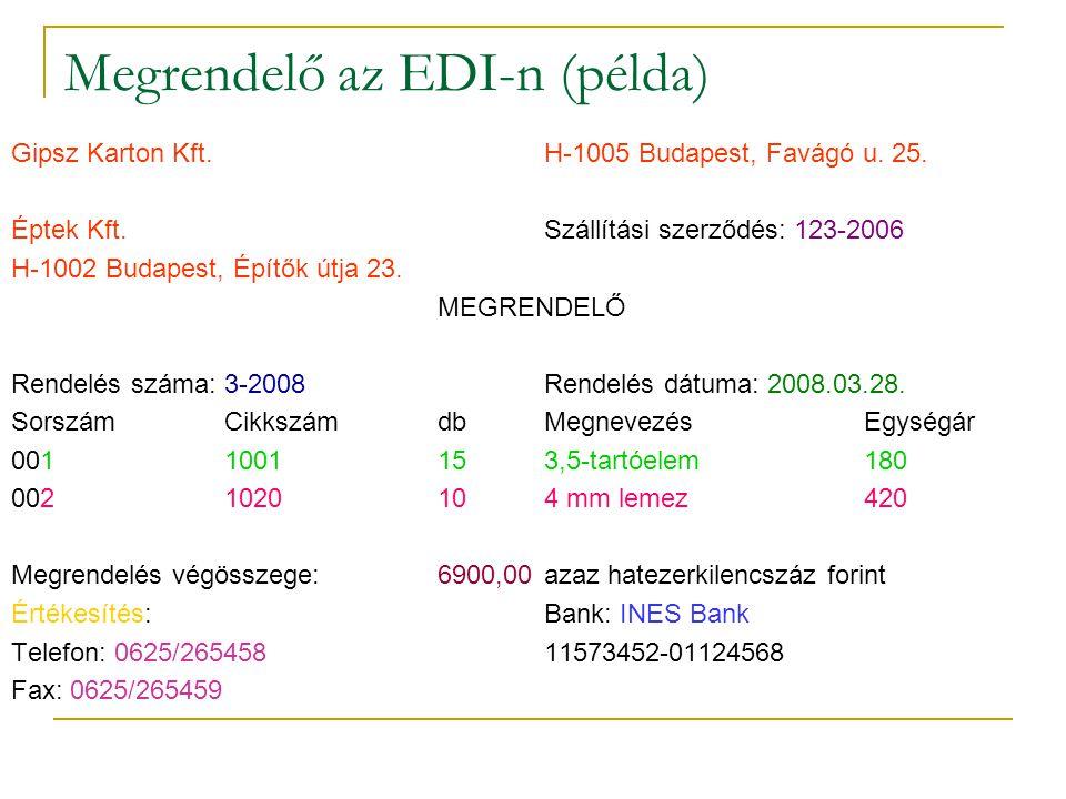Megrendelő az EDI-n (példa)
