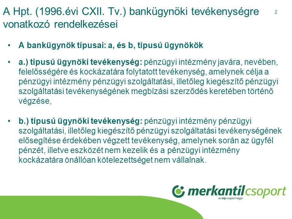 A Hpt. (1996.évi CXII. Tv.) bankügynöki tevékenységre vonatkozó rendelkezései