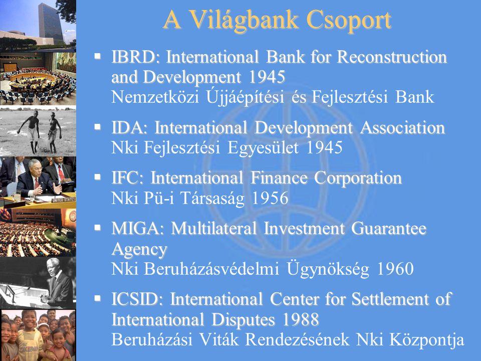 A Világbank Csoport IBRD: International Bank for Reconstruction and Development 1945 Nemzetközi Újjáépítési és Fejlesztési Bank.