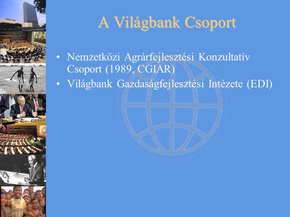 A Világbank Csoport Nemzetközi Agrárfejlesztési Konzultatív Csoport (1989, CGIAR) Világbank Gazdaságfejlesztési Intézete (EDI)