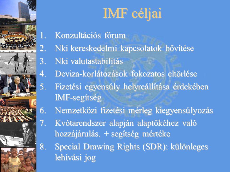 IMF céljai Konzultációs fórum Nki kereskedelmi kapcsolatok bővítése