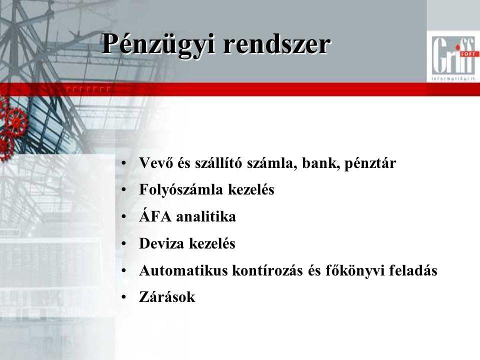Pénzügyi rendszer Vevő és szállító számla, bank, pénztár