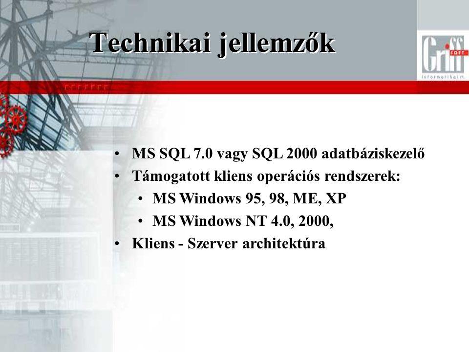 Technikai jellemzők MS SQL 7.0 vagy SQL 2000 adatbáziskezelő