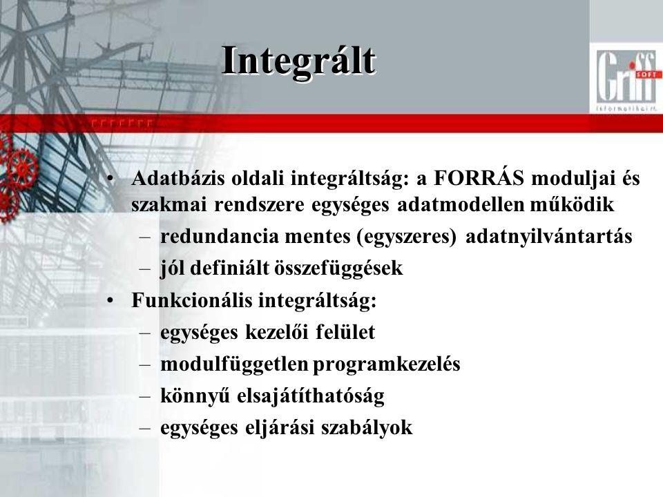Integrált Adatbázis oldali integráltság: a FORRÁS moduljai és szakmai rendszere egységes adatmodellen működik.