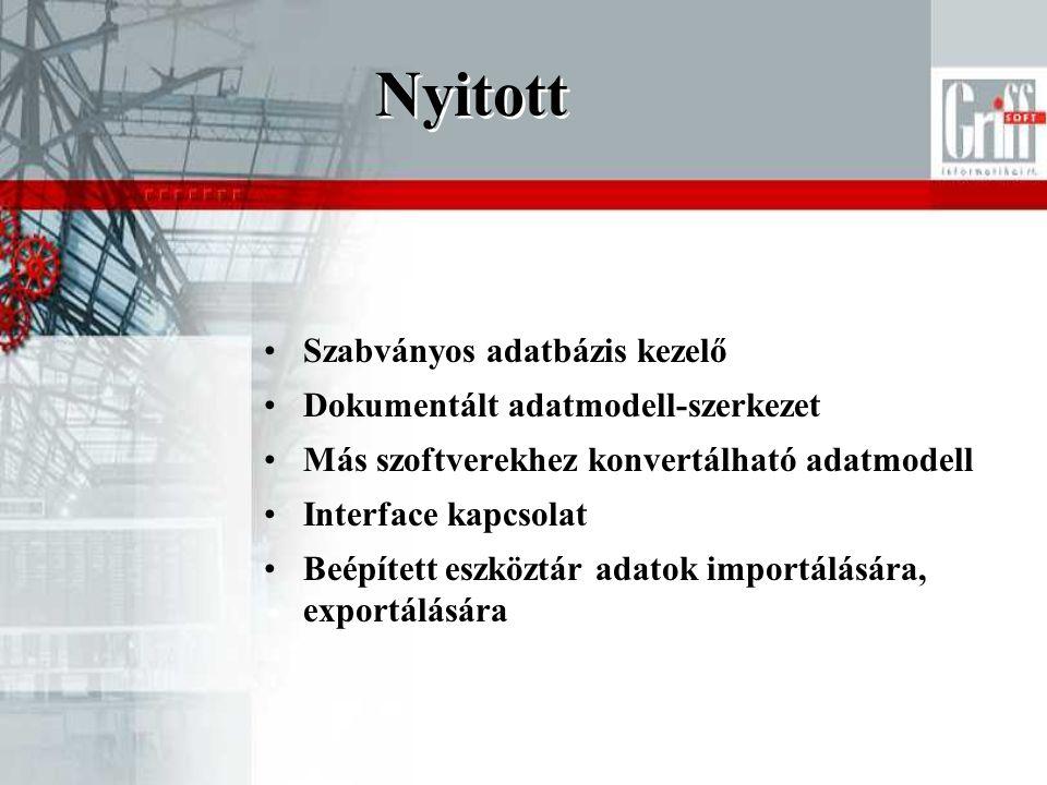 Nyitott Szabványos adatbázis kezelő Dokumentált adatmodell-szerkezet